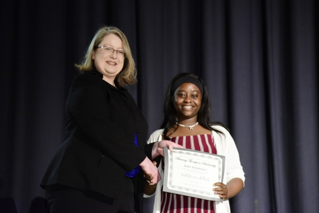 Jennifer Owen Presents the Barney Thompson Scholarship at Fulton High School Senior Awards, May 3, 2019